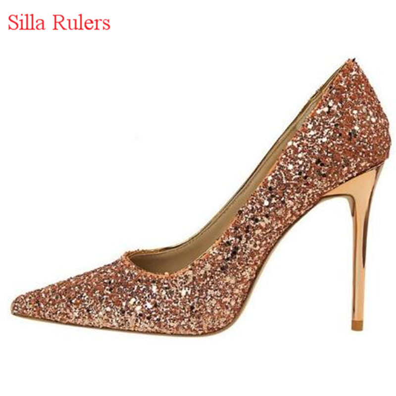 Mujer Picture as Bout De Femmes Argent Bling Talons As Picture Or Dames Mariage Glitter Chaussures Haute Pompes Femme Zapatos Rouge Pointu Sexy HRnxqgTwg