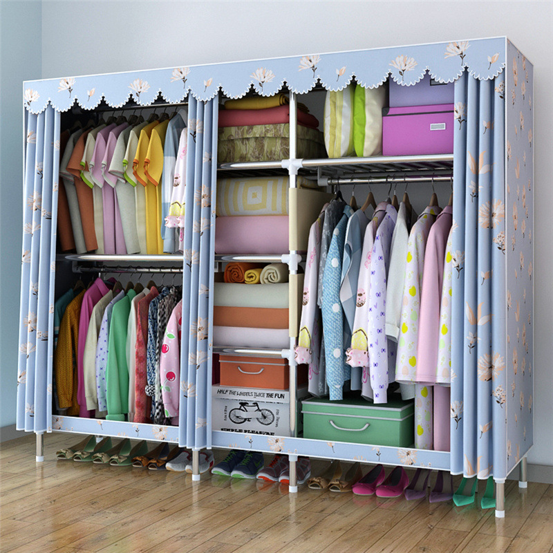 Large Cloth Wardrobe Clothing Hanging Storage Cabinet Fabric Closet 25 MM Steel Pipe Metal Reinforcement Cabinet wardrobe extra large eco friendly cartoon hanging clothes cabinet wardrobe storage box wire combined type child simple