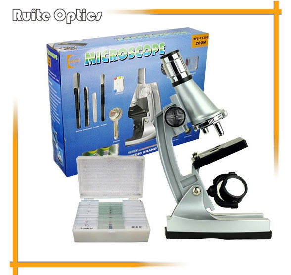 Educational Early Development 1200x Mini Plastic Microscope With 10 pcs Prepared Glass Microscope slides for Kids Great Gift fixed set teaching resources university students study 78pieces medical parasite prepared microscope slides
