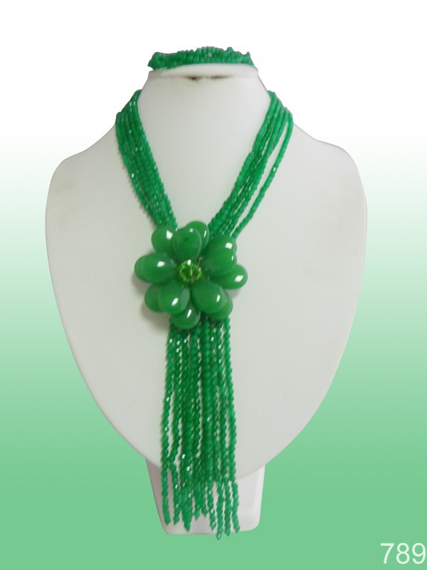 Yp-1803 amazing style green crystal jewelry set for holiday!