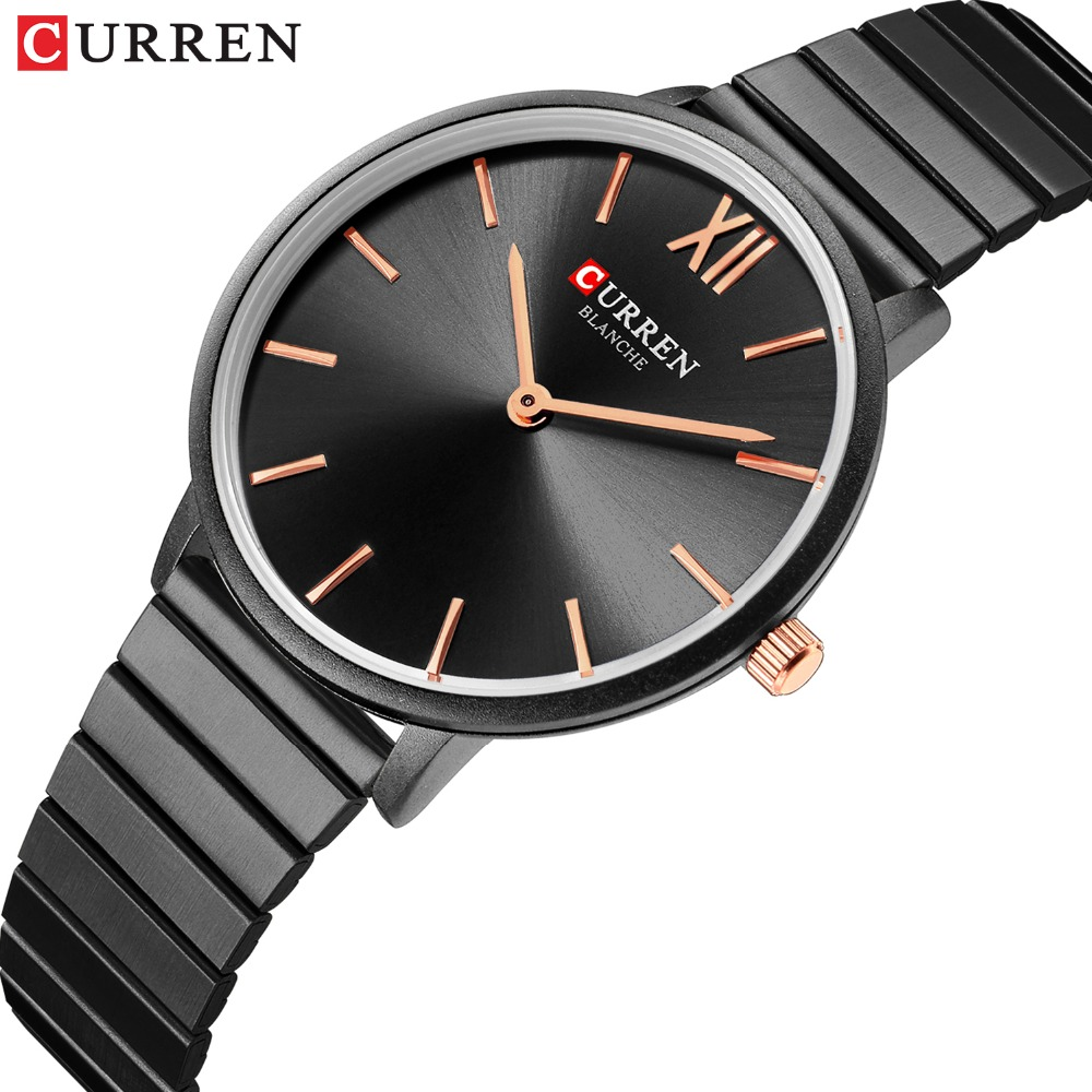 CURREN Jewelry Gifts For Women's Luxury Black Steel Quartz Watch Brand Women Watches Fashion Ladies Clock Relogio Feminino