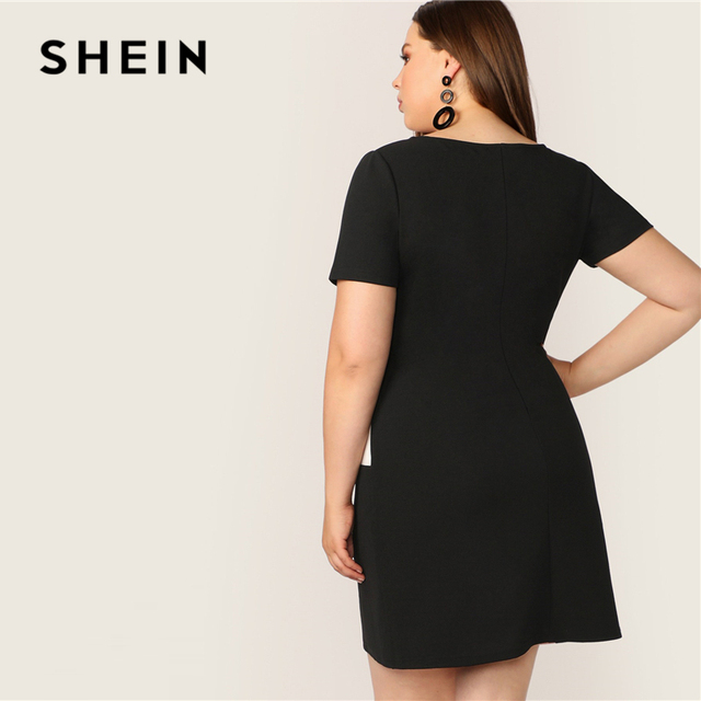 SHEIN Plus Size Multicolor Colorblock Tunic Dress 2019 Women Summer Casual Straight Shift Short Sleeve Big Size  Mini Dresses 2