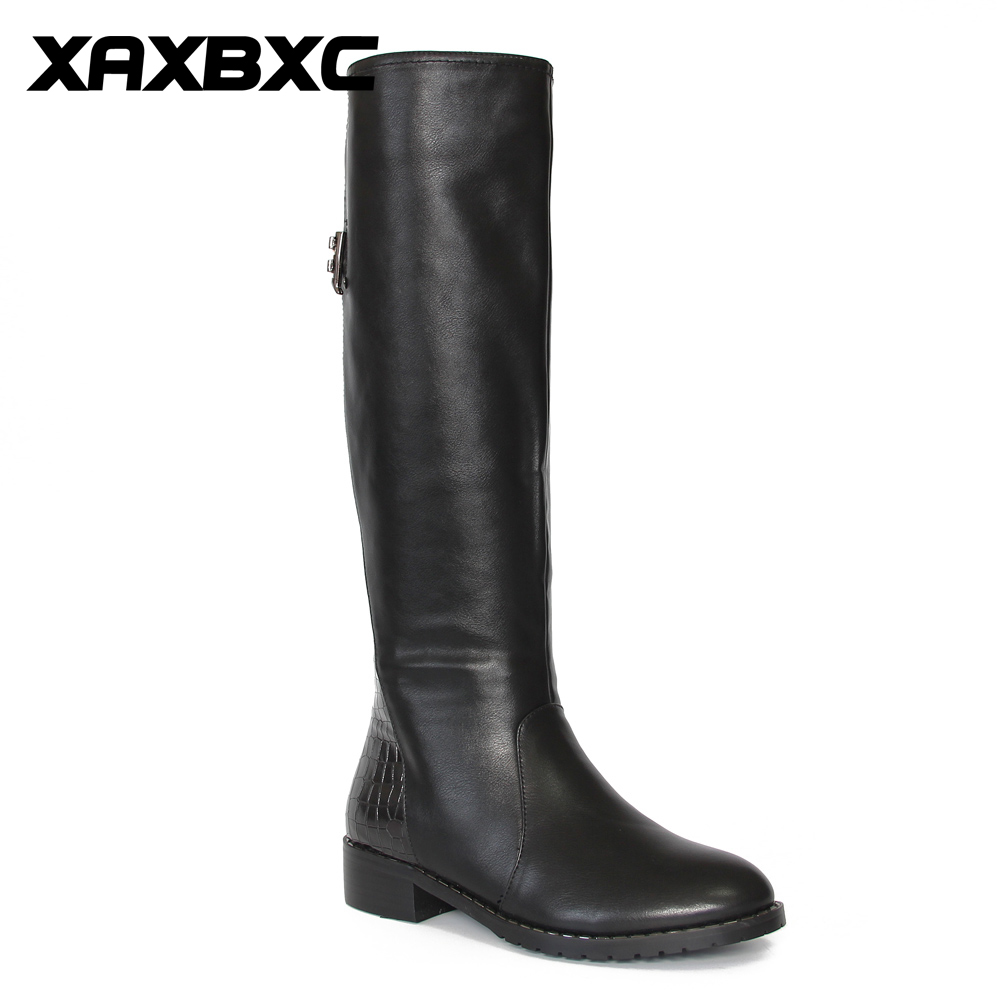 XAXBXC Retro British Style Pu Leather Black Zipper Long Boots Women Boots Metal Buckle Pointed Toe Handmade Casual Lady Shoes