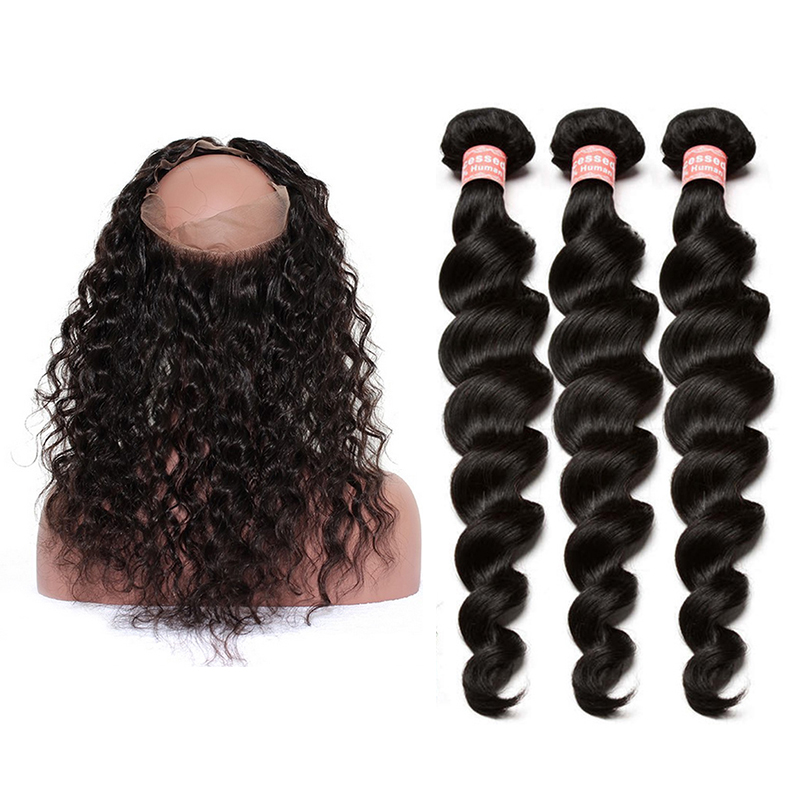 Loose Wave Hair Pre Plucked 360 Lace Frontal Closure With Bundles 4 Pcs 100% Human Hair Deals Brazilian Remy Hair Natural Color