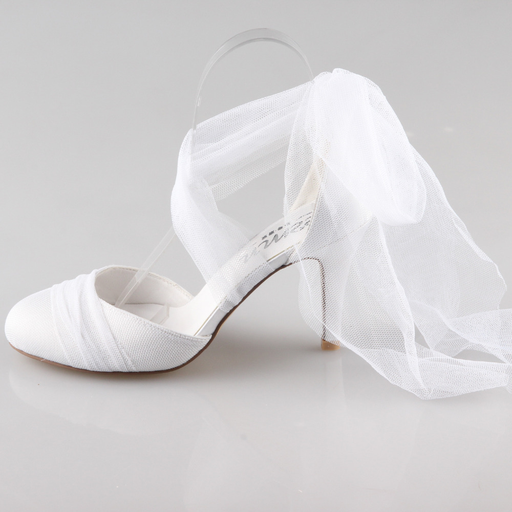 Creativesugar Handmade white tulle sofe gauze leg strap D'orsay leg fairy tale bridal wedding evening dress quinceanera shoes creativesugar handmade teal peacock blue long tulle bridal shoes soft gauze leg strap forest fairy tale wedding party lady pumps