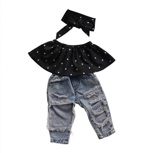 d5bcb28ccdad8 Filles vêtements set d été chemisier noir déchiré denim pantalon bébé fille  vêtements set tenues
