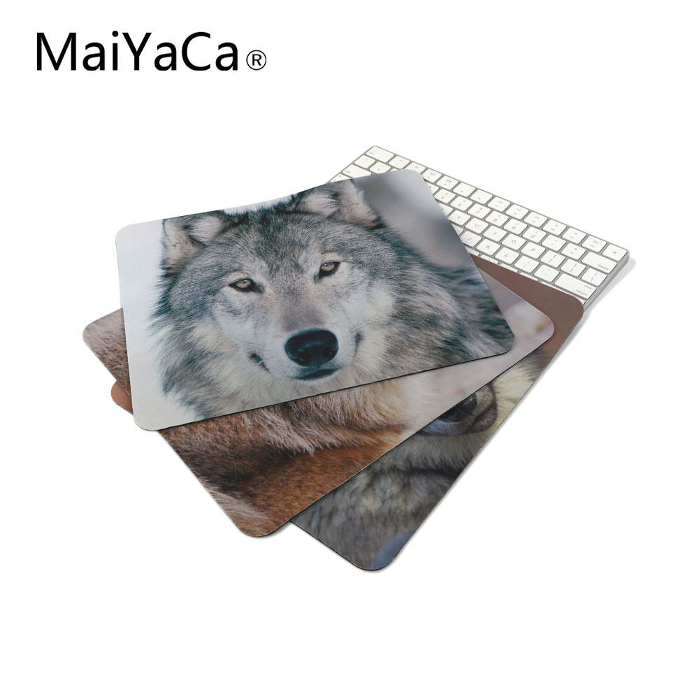 MaiYaCa white wolf on the snow picture Cool Dark Mouse Pad Computer Laptop Custom-made Mouse Mat Pad