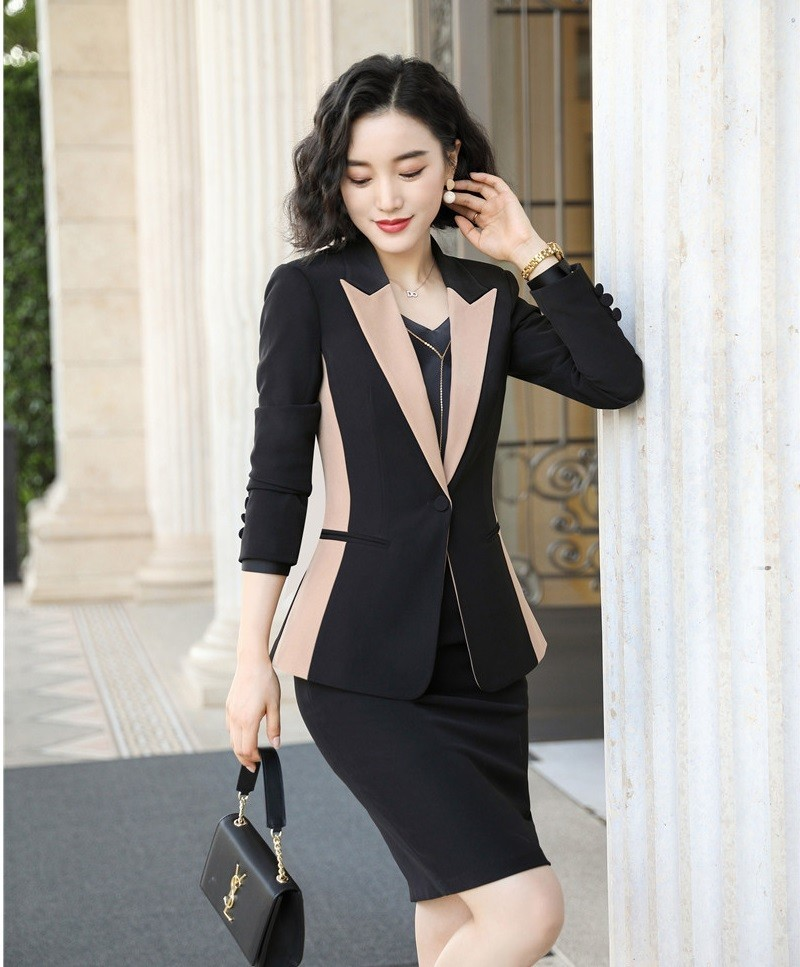 2019 New Styles Autumn Winter Formal Women Business Suits with Skirt and Tops Ladies Professional Office Work Wear Blazers Set