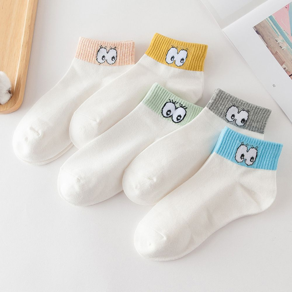 Fashion Accessories Cartoon Cute Eyes Women Sock Lady Cotton Short Sock Spring Summer Breathable Soft Ankle Sock