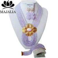 Majalia Fashion Nigeria Wedding African Beads Jewelry Set Lilac Crystal Necklace Bridal Jewelry Sets Free Shipping 6PO016