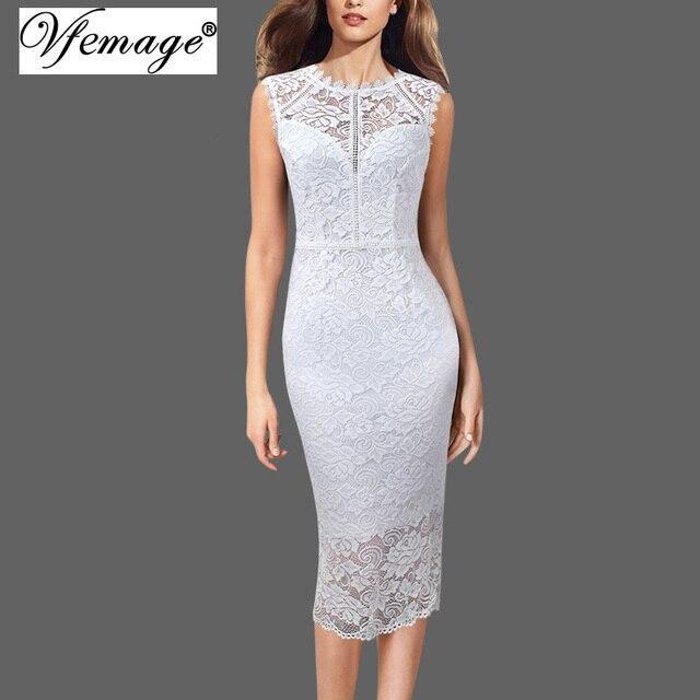 Vfemage נשים סקסי אלגנטי מלא פרחוני תחרה צדפות עגול צוואר שרוולים קוקטייל מסיבת חתונת כלה Bodycon עיפרון שמלת 498