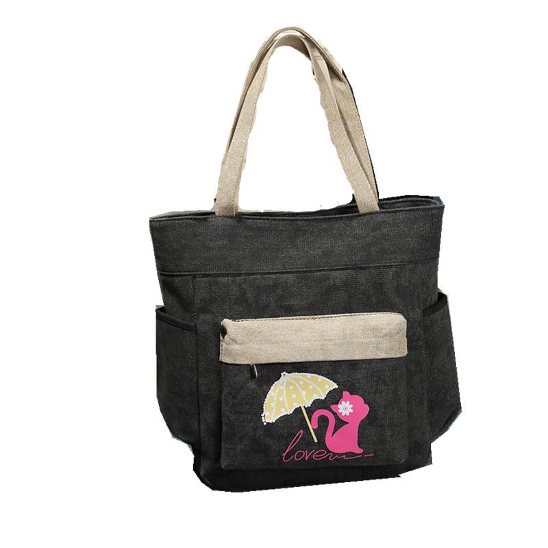 Casual big canvas bags solid women shoulder handbags,2017 fashion ladies handbags with cute cat bolsa feminina