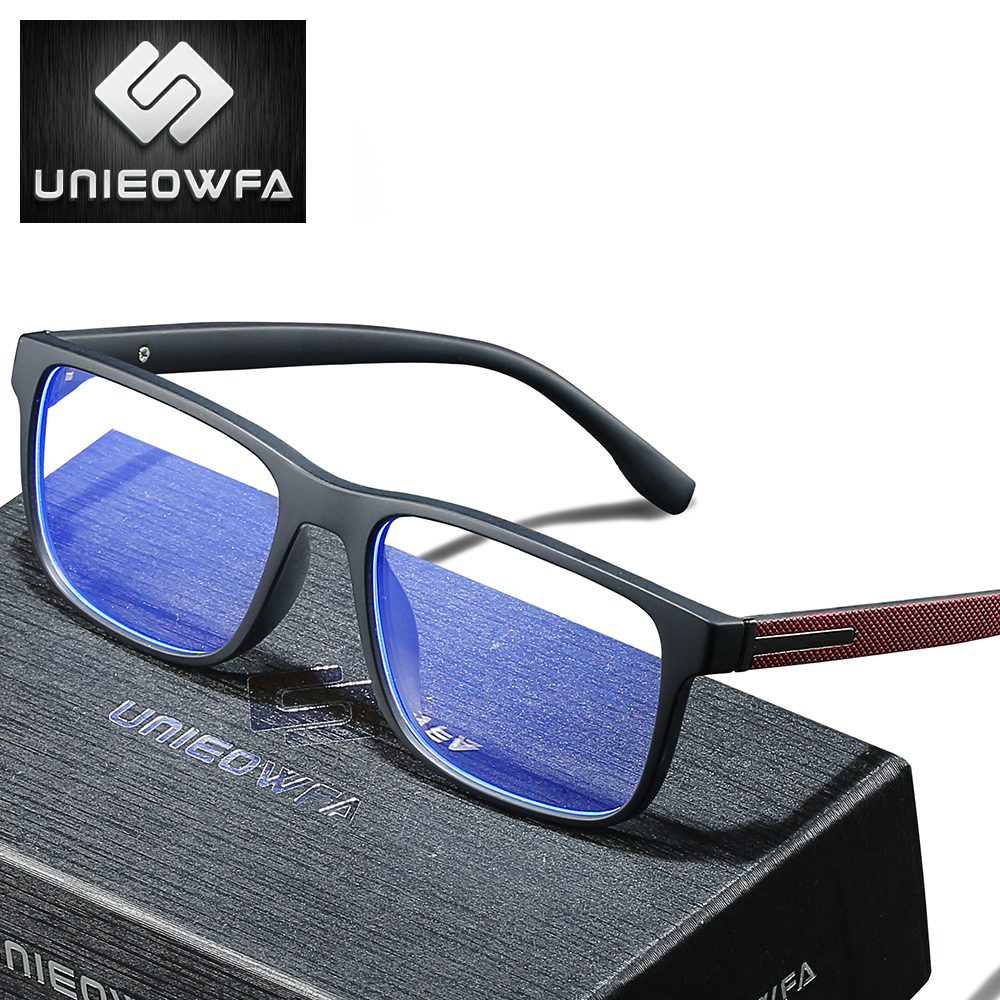 UNIEOWFA Photochromic Prescription Glasses Men Optical Blue Light Blocking Spectacles TR90 Frame Myopia Progressive Eyeglasses