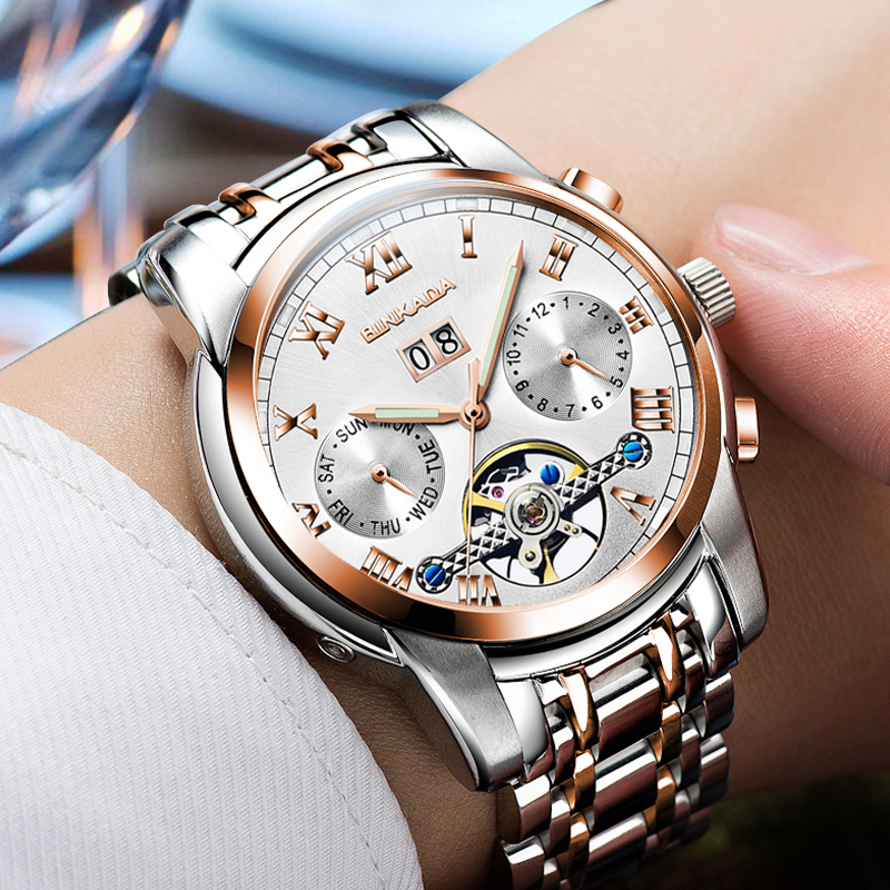 Fashion BINKADA Men Luxury Brand Roman Number Hand-wind Stainless steel Watch Automatic Mechanical Wristwatches Gift Box Relogio стоимость
