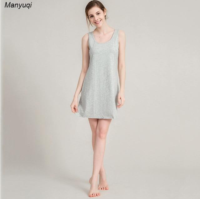 Women\'s cotton nightgown gray above kness sleeveless women night ...