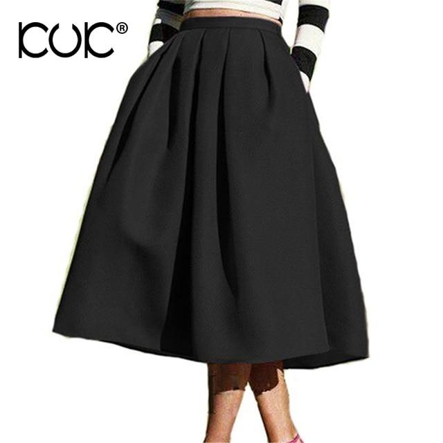 Кук 3 цвета юбка миди винтажные Ретро Черный Зеленый Синий saia Миди эластичный пояс женский плиссированные юбки женские осенние A757