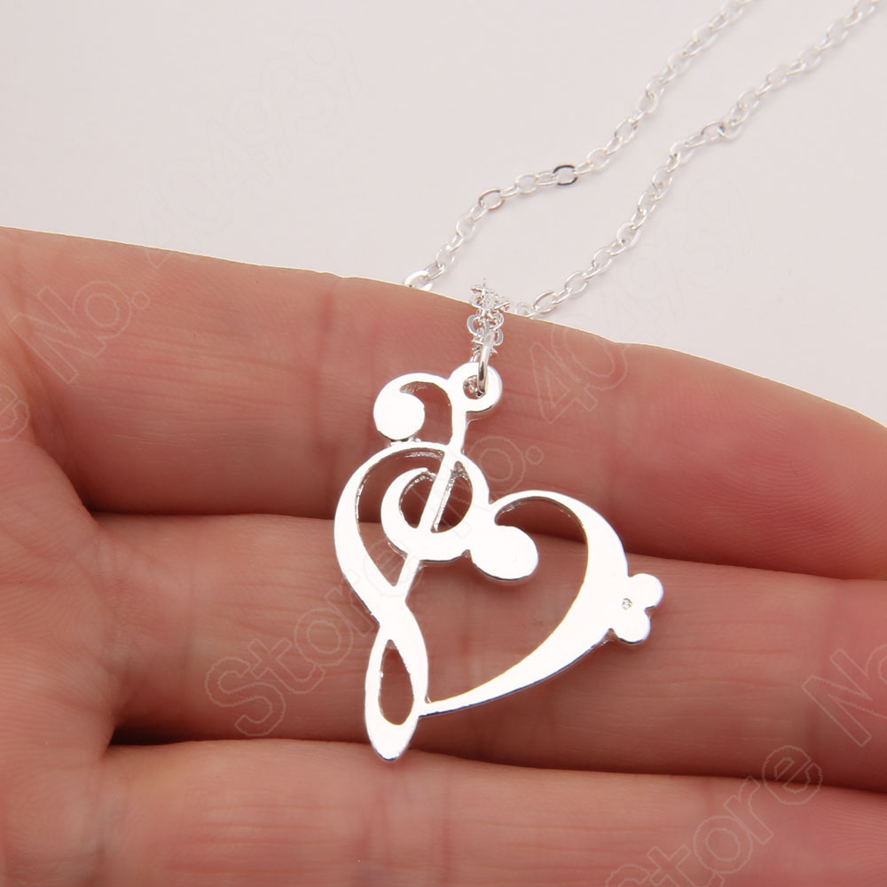 Dainty 14k Yellow Gold Music Note Charm Bass Clef Pendant Necklace