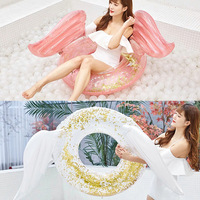 Angel wings nflatable circle Sequin pool float inflatable Swimming Kids Adult crystal shiny Swim swimming circle pool toys