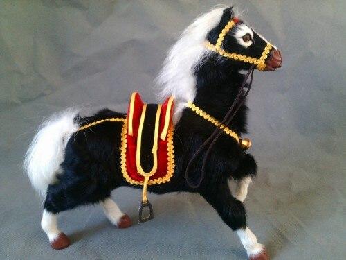 Grand 30x28 cm simulation jouet selle noir cheval réel modèle de fourrure, polyéthylène & fourrures artisanat décoration cadeau de noël a2457