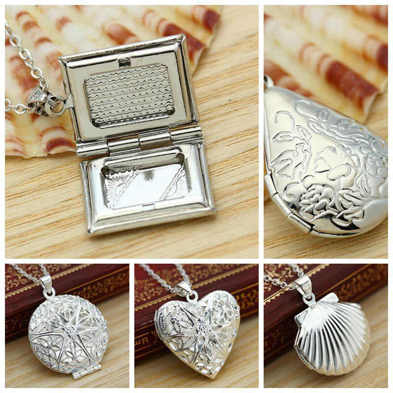 Openable Heart  Silver  Locket Pendant  Photo Women Necklace  round  Hollow  Chain  square shell Water drop Picture