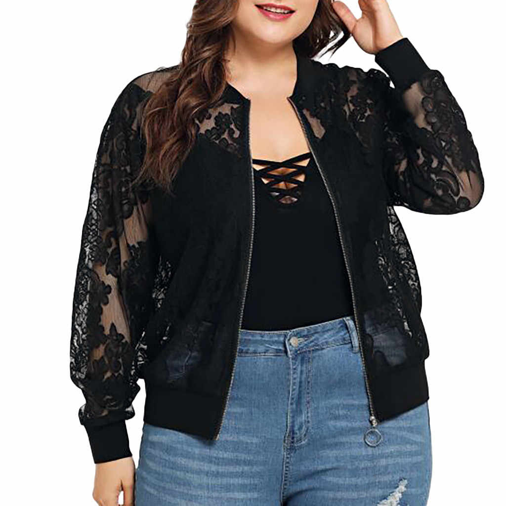 feitong women jackets spring autumn Womens Solid Casual Plus Size Lace Loose  Zipper Pockets Casual Long Sleeves #w1235