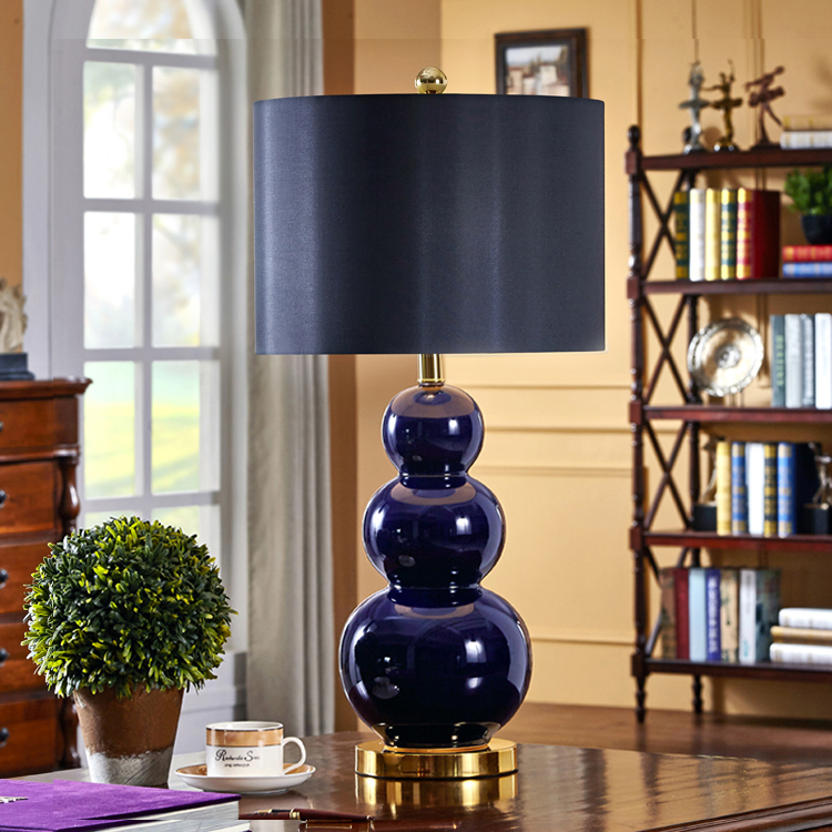 Bedroom Lamps Black: American Style Deep Blue Gourd Ceramic Table Lamps Home