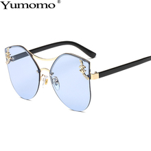 Fashion Frameless Diamond Sunglasses Women 2019 New Luxury Brand Designer Irregular Metal Gradient Blue Pink Ladies Eyeglasses
