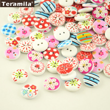 100pcs/lot Painting Wood Buttons 15mm 2 Holes Flatback Teramila Sewing Material Diy Crafts wooden Accessory Scrapbooking