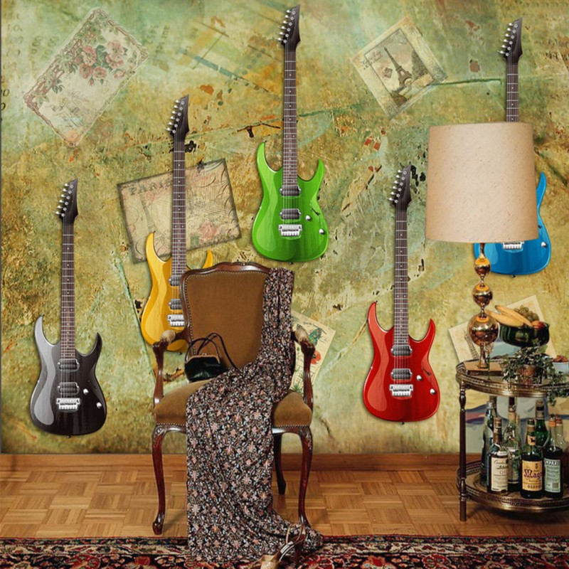 wallpaper 3d Retro Colorful Electric Guitar photo wallpaper Living room studio bar decorative backdrop murals book knowledge power channel creative 3d large mural wallpaper 3d bedroom living room tv backdrop painting wallpaper