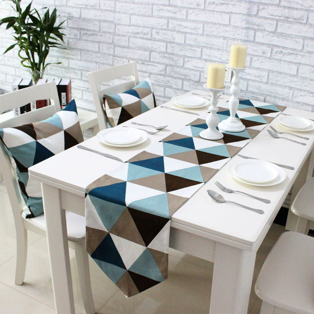 Beau Cotton Canvas Triangle Gemoetric Table Runners Decorative Table Cloth Table  Decoration 4 Size Availabe