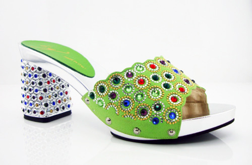 ФОТО green Newest Style African High Heels Upscale Shoes Woman High Heels African Sandals Shoes HK1-11
