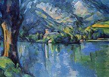 Paul cezanne: lago de annecy poster de seda pintura decorativa 24x36inch