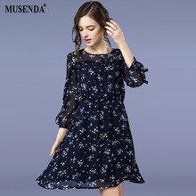 MUSENDA Plus Size Women Royal Blue Print Thin Chiffon Tunic Dress 2018  Spring Female Sweet Dresses Vestido Clothing Robe 4XL 5XL d41397a6f6f1