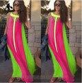 Women Boho Patchwork Long Dress Vestidos Boxers Plus Size Vestidos Longo High Street Casual Gowns Party Fashion Maxi Dress
