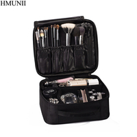 HMUNII Women Cosmetic Bag High Quality Travel Cosmetic Organizer Zipper Portable Makeup Bag Designers Trunk Make