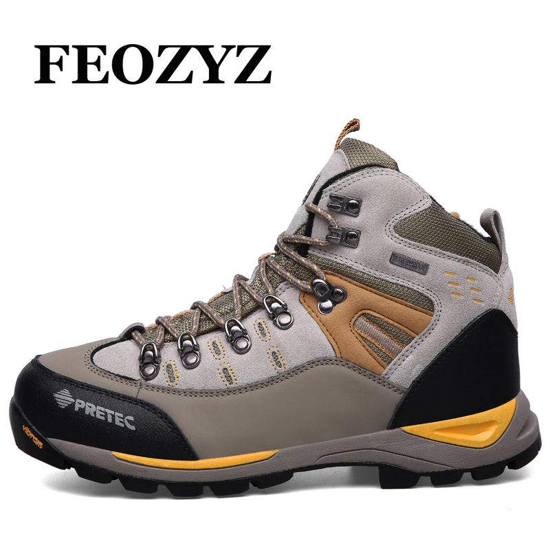 FEOZYZ Waterproof Hiking Shoes Men Cow Leather Trekking Hiking Boots Mountain Climbing Shoes Men Zapatillas Outdoor Hombre yin qi shi man winter outdoor shoes hiking camping trip high top hiking boots cow leather durable female plush warm outdoor boot