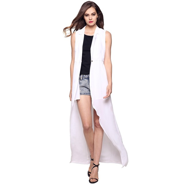 Women white long vest coat Europen style waistcoat sleeveless jacket Single Button outwear casual top Roupa Female Worldwide
