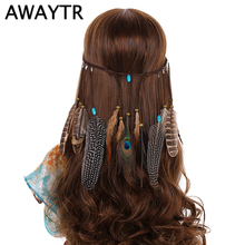 AWAYTR Halloween Hair Accessories 2017 Festival Women Feather Headband Hippie Headdress Boho Peacock Feather Headdress