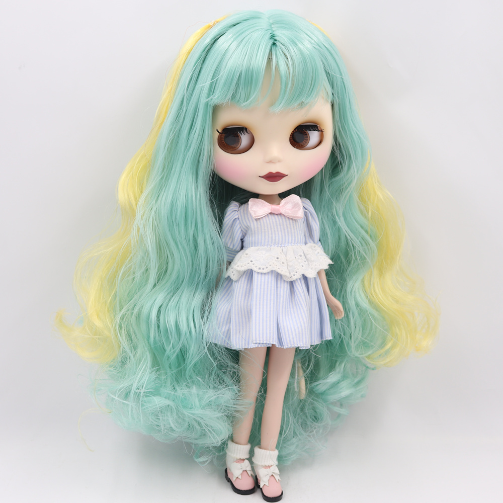 Nude Factory Blyth Nude Doll For Series No 280BL40061200 Green mix Yellow hair with bangs 1