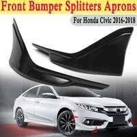 2PCS Front Bumper Side Splitters Lip Apron Valance Side Skirt Splitters Diffuser For Honda For Civic 2016 2018 For JDM