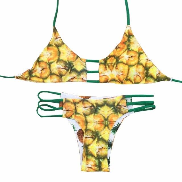 4a5221c0c1f42d Zomer ananas bikini push up zwembroek voor vrouwen bandage badpak sexy  badmode vrouwelijke fruit halter Omkeerbare