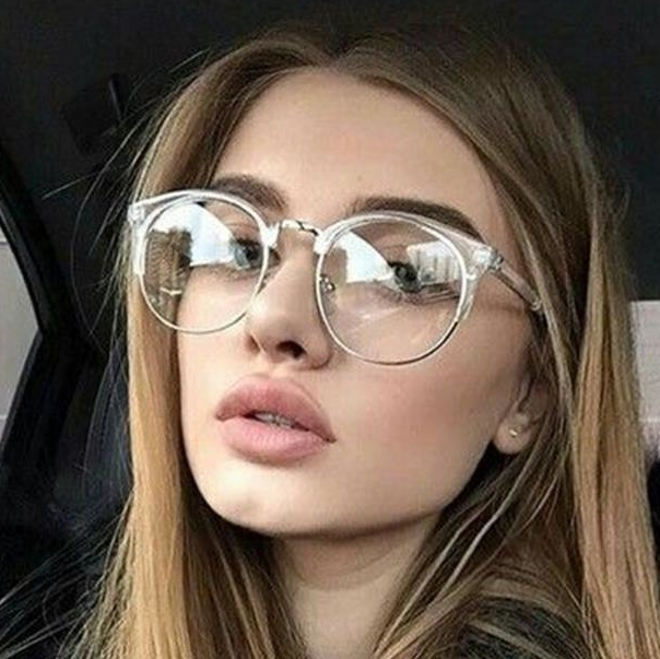 Fashion Cat Eye Clear Glasses With Clear Lens Metal Half