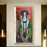 Gustav Klimt Oil painting Portrait Of Adele Bloch Bauer Canvas Person Wall art Pictures for living room Home Decor wall decor01