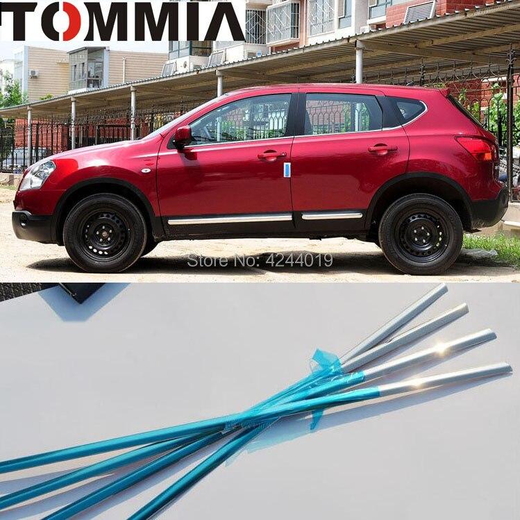TOMMIA 8 pièces en acier inoxydable Chrome bas cadre de fenêtre garniture de seuil pour Nissan Qashqai accessoires de voiture