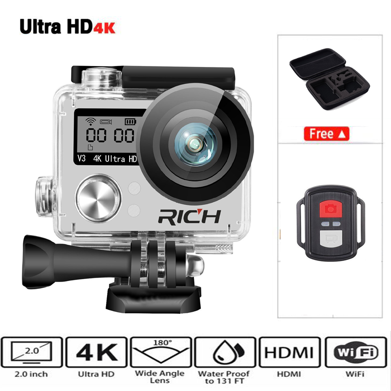 Hot Ultra HD 4K wifi action camera 1080p HD 60fps Diving 30M waterproof helmet Sports DV cam go 4 K Pro yi extreme sports kamera extreme sports surf