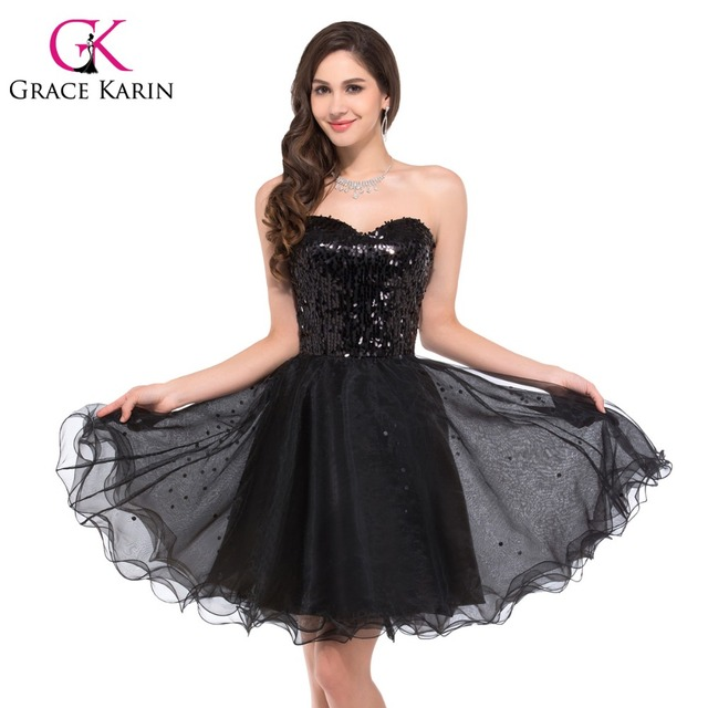 Grace Karin Real Sweetheart Tulle Sequin Sexy Black Cocktail Dresses Shining Short Prom Dress 2017 New GK2513