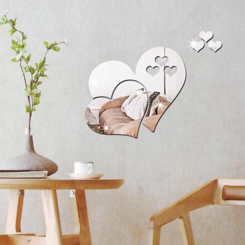 3D กระจกอะคริลิคสติ๊กเกอร์ติดผนัง Heart Shape กระจกความคิดสร้างสรรค์สติกเกอร์ห้องนั่งเล่นพื้นหลังตกแต่งบ้าน espejos ภาพจิตรกรรมฝาผนัง parede