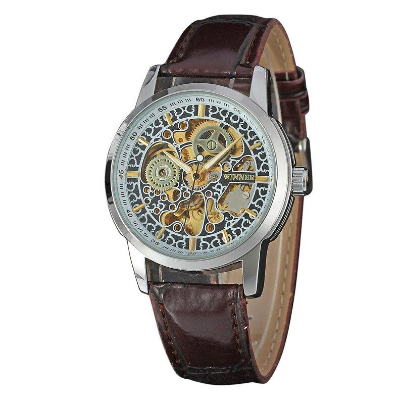 WINNER nouveauté montres résistantes à l'eau conception de roue squelette montres mécaniques mode montre bracelet en cuir Hombre