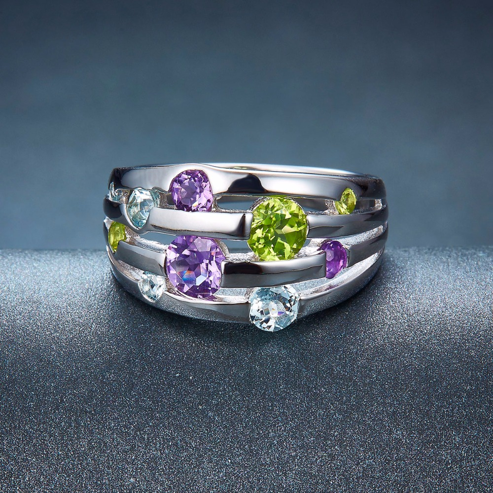 Hutang Natural Amethyst Wedding Rings Peridot Topaz Solid 925 - Smykker - Foto 3