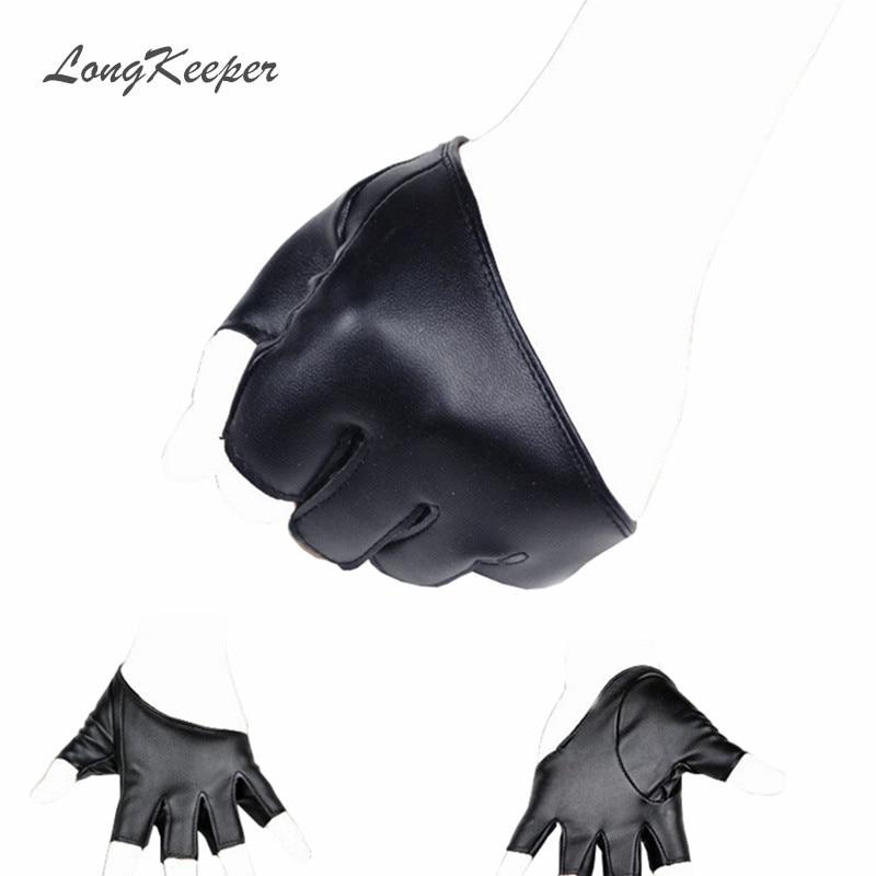 LongKeeper Women's Gloves Half Finger Leather Glove Prom Party Dance Gloves Female Fashion Half Palm PU Glove SXJ100